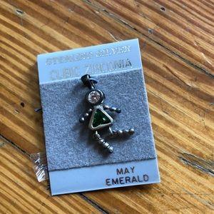 Jewelry - Retro Sterling Silver Emerald charm-May Birthstone